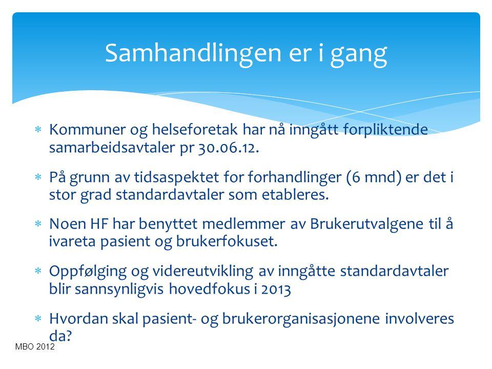  Kommuner og helseforetak har nå inngått forpliktende samarbeidsavtaler pr 30.06.12.  På grunn av tidsaspektet for forhandlinger (6 mnd) er det i st