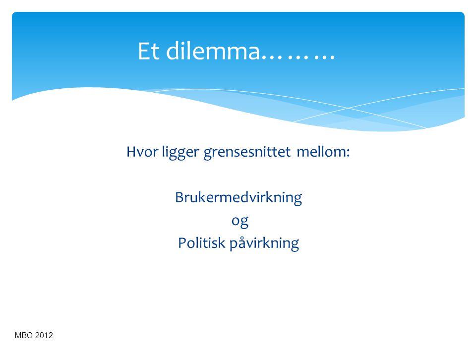 Et dilemma……… Hvor ligger grensesnittet mellom: Brukermedvirkning og Politisk påvirkning MBO 2012 37