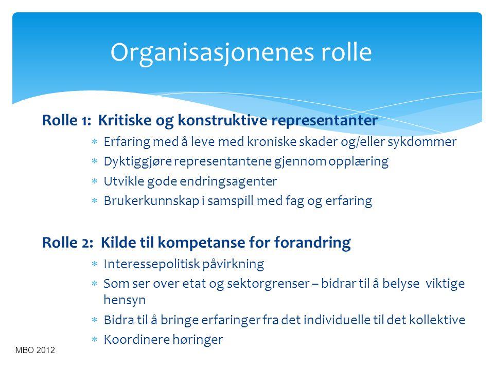 Organisasjonenes rolle Rolle 1: Kritiske og konstruktive representanter  Erfaring med å leve med kroniske skader og/eller sykdommer  Dyktiggjøre rep