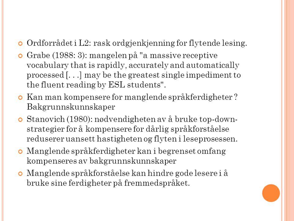 Ordforrådet i L2: rask ordgjenkjenning for flytende lesing. Grabe (1988: 3): mangelen på