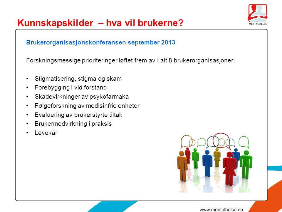Brukerorganisasjonskonferansen september 2013 Forskningsmessige prioriteringer løftet frem av i alt 8 brukerorganisasjoner: •Stigmatisering, stigma og
