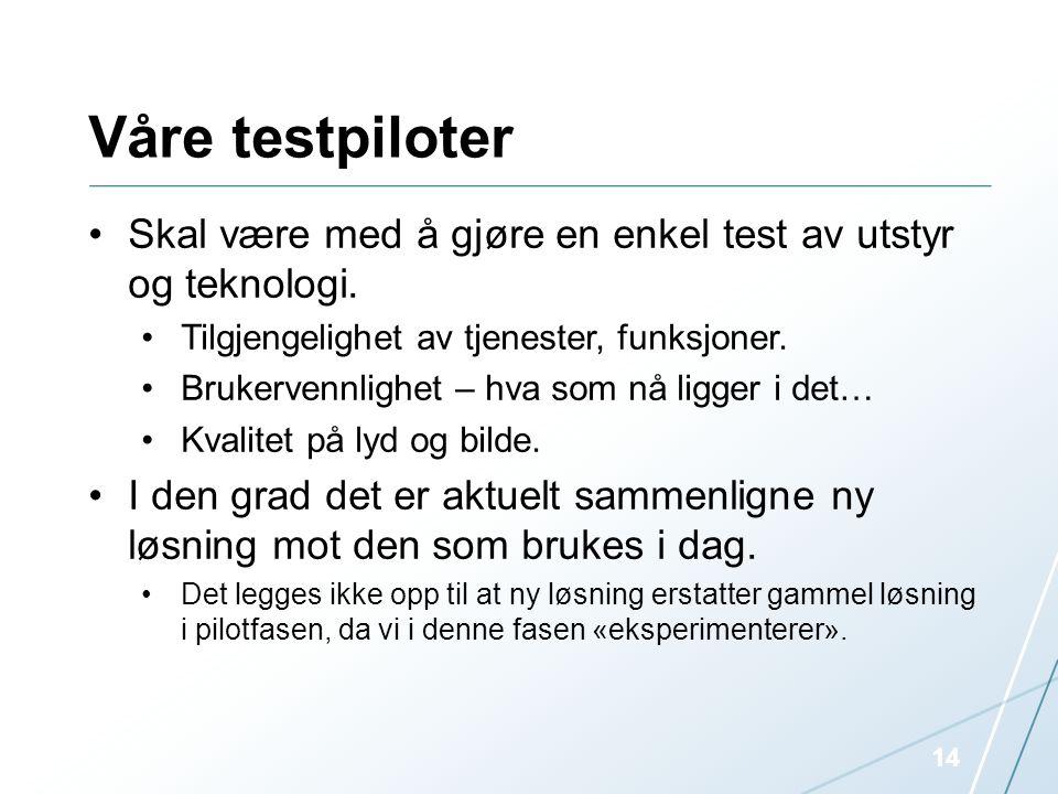 Våre testpiloter •Skal være med å gjøre en enkel test av utstyr og teknologi. •Tilgjengelighet av tjenester, funksjoner. •Brukervennlighet – hva som n