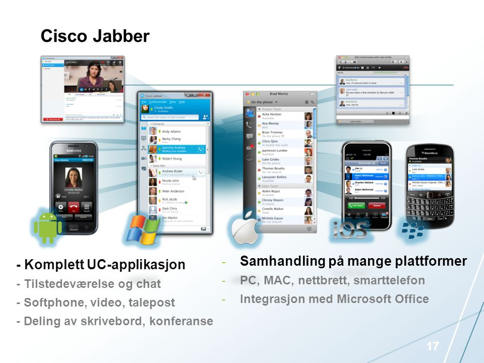 - Komplett UC-applikasjon - Tilstedeværelse og chat - Softphone, video, talepost - Deling av skrivebord, konferanse - Samhandling på mange plattformer