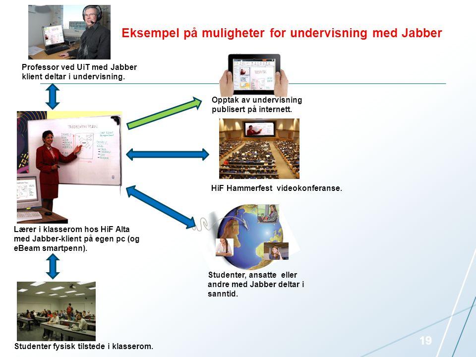 Opptak av undervisning publisert på internett. HiF Hammerfest videokonferanse. Lærer i klasserom hos HiF Alta Studenter fysisk tilstede i klasserom. P