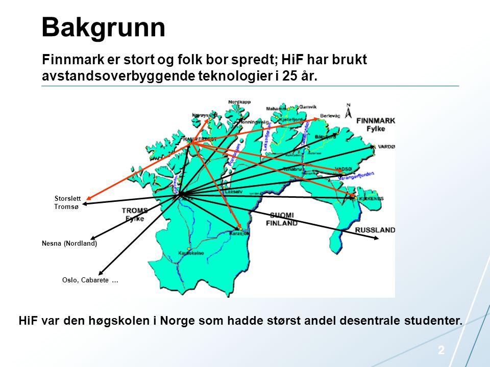 Bakgrunn 2 Finnmark er stort og folk bor spredt; HiF har brukt avstandsoverbyggende teknologier i 25 år. Storslett Tromsø Nesna (Nordland) Oslo, Cabar