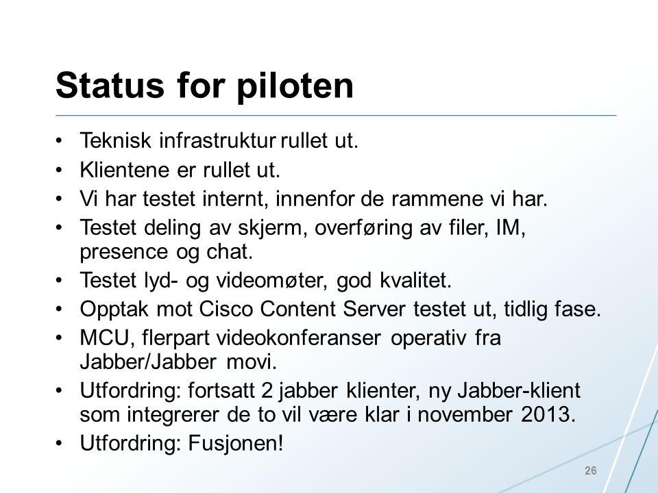 Status for piloten •Teknisk infrastruktur rullet ut. •Klientene er rullet ut. •Vi har testet internt, innenfor de rammene vi har. •Testet deling av sk