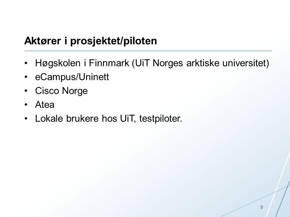Aktører i prosjektet/piloten •Høgskolen i Finnmark (UiT Norges arktiske universitet) •eCampus/Uninett •Cisco Norge •Atea •Lokale brukere hos UiT, test