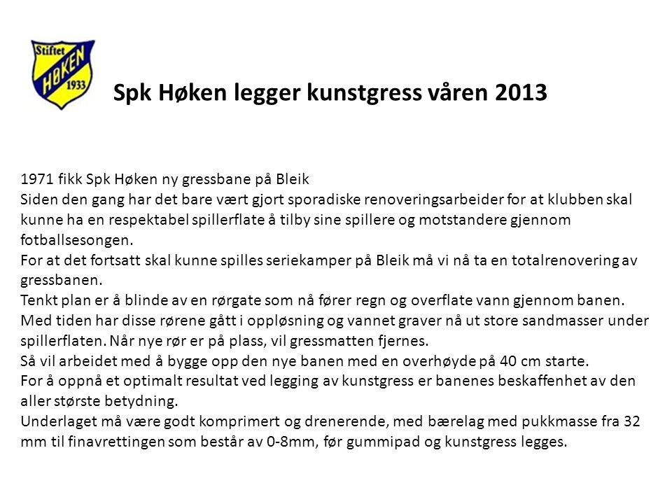Spk Høken legger kunstgress våren 2013 1971 fikk Spk Høken ny gressbane på Bleik Siden den gang har det bare vært gjort sporadiske renoveringsarbeider