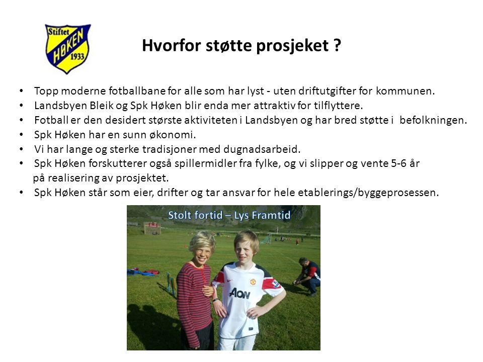 Hvorfor støtte prosjeket ? • Topp moderne fotballbane for alle som har lyst - uten driftutgifter for kommunen. • Landsbyen Bleik og Spk Høken blir end