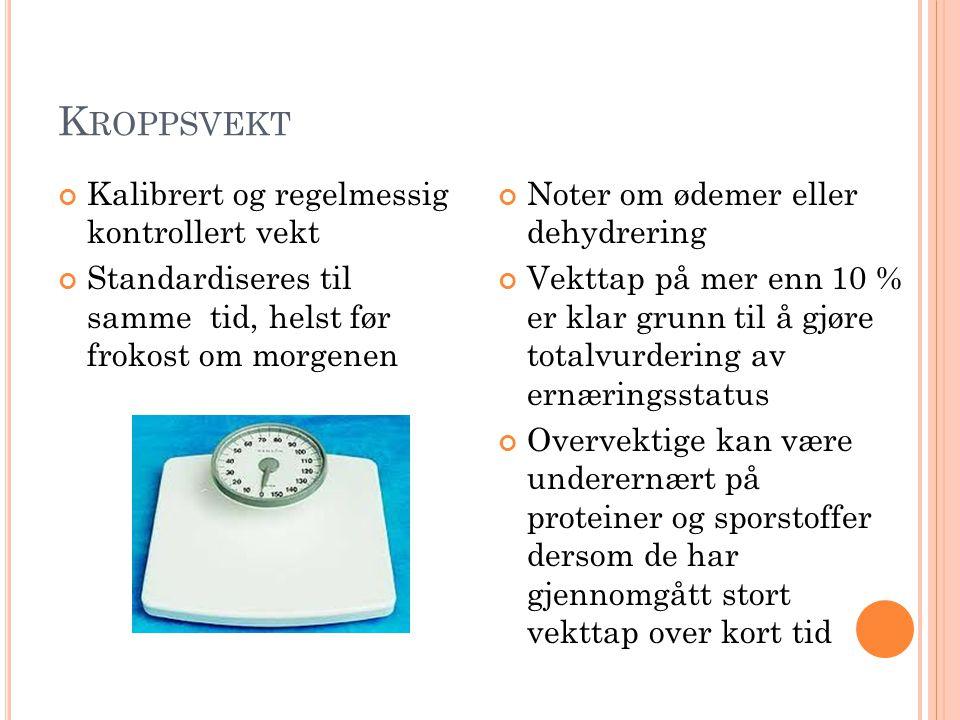 K ROPPSVEKT Kalibrert og regelmessig kontrollert vekt Standardiseres til samme tid, helst før frokost om morgenen Noter om ødemer eller dehydrering Ve