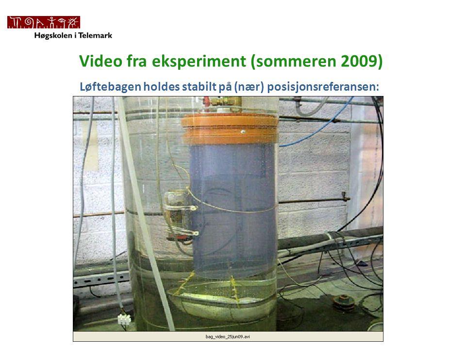 Video fra eksperiment (sommeren 2009) Løftebagen holdes stabilt på (nær) posisjonsreferansen: