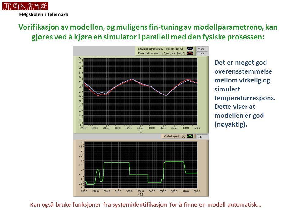 Verifikasjon av modellen, og muligens fin-tuning av modellparametrene, kan gjøres ved å kjøre en simulator i parallell med den fysiske prosessen: Kan også bruke funksjoner fra systemidentifikasjon for å finne en modell automatisk… Det er meget god overensstemmelse mellom virkelig og simulert temperaturrespons.
