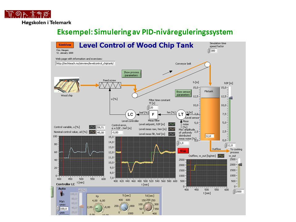 Eksempel: Simulering av PID-nivåreguleringssystem