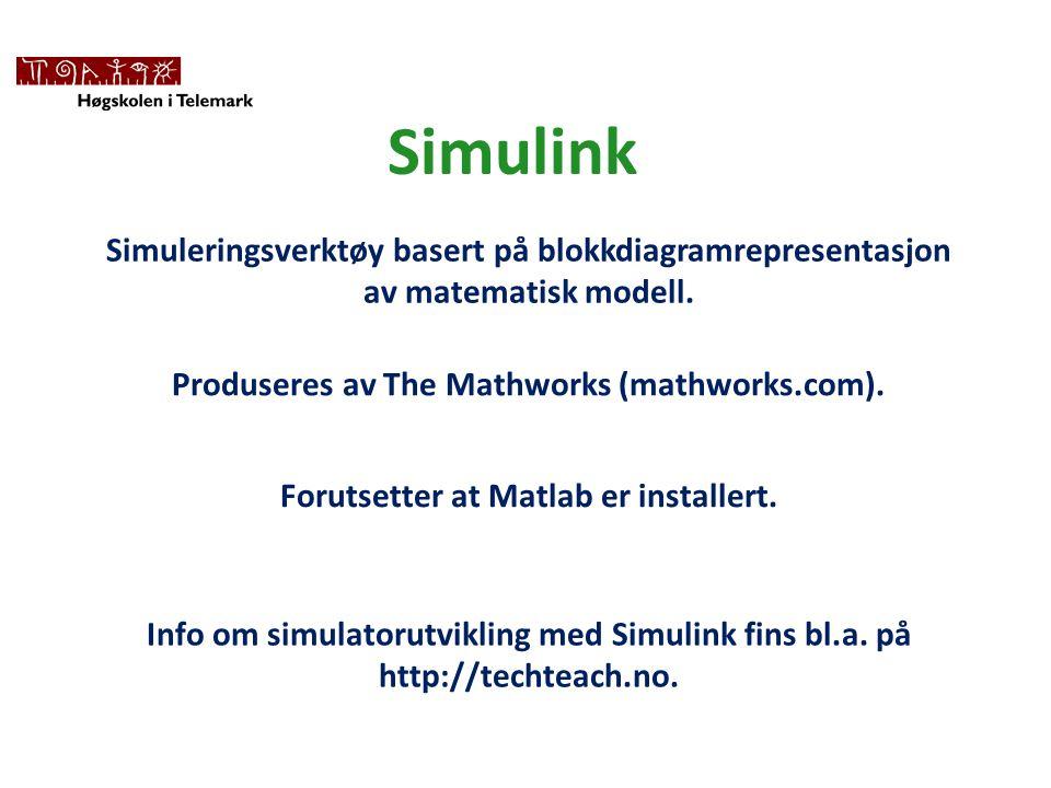 Simulink Simuleringsverktøy basert på blokkdiagramrepresentasjon av matematisk modell.