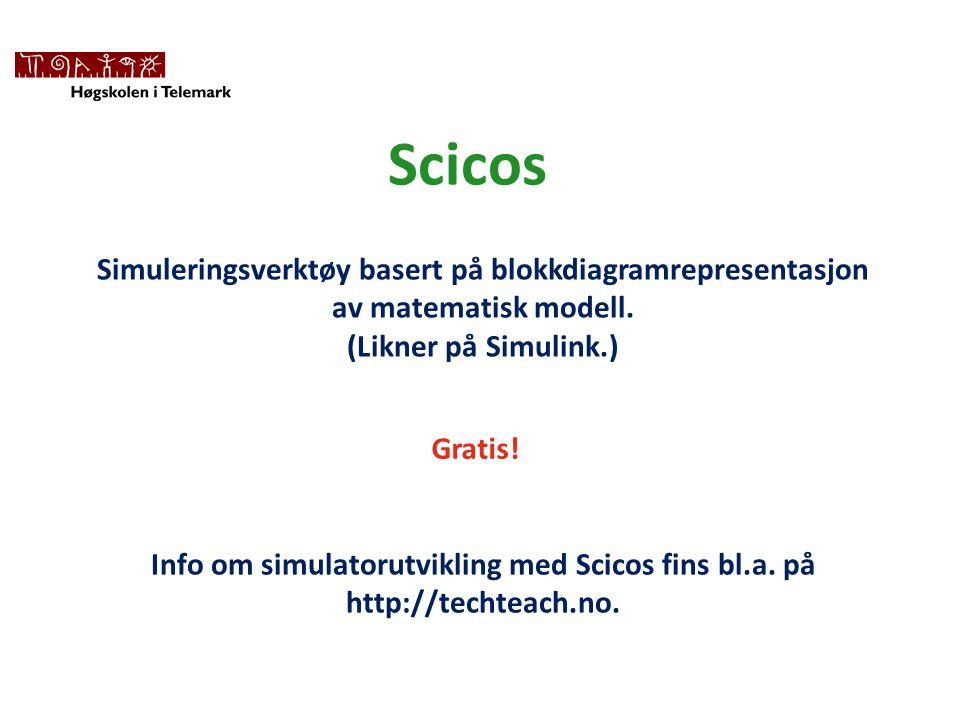 Scicos Simuleringsverktøy basert på blokkdiagramrepresentasjon av matematisk modell.