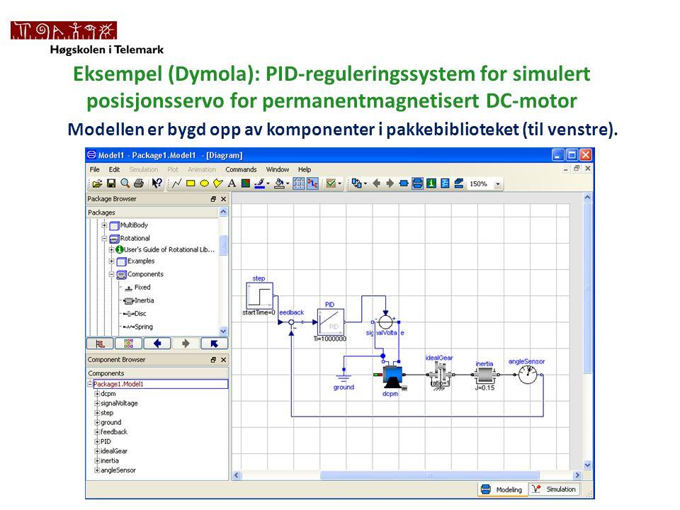Eksempel (Dymola): PID-reguleringssystem for simulert posisjonsservo for permanentmagnetisert DC-motor Modellen er bygd opp av komponenter i pakkebiblioteket (til venstre).