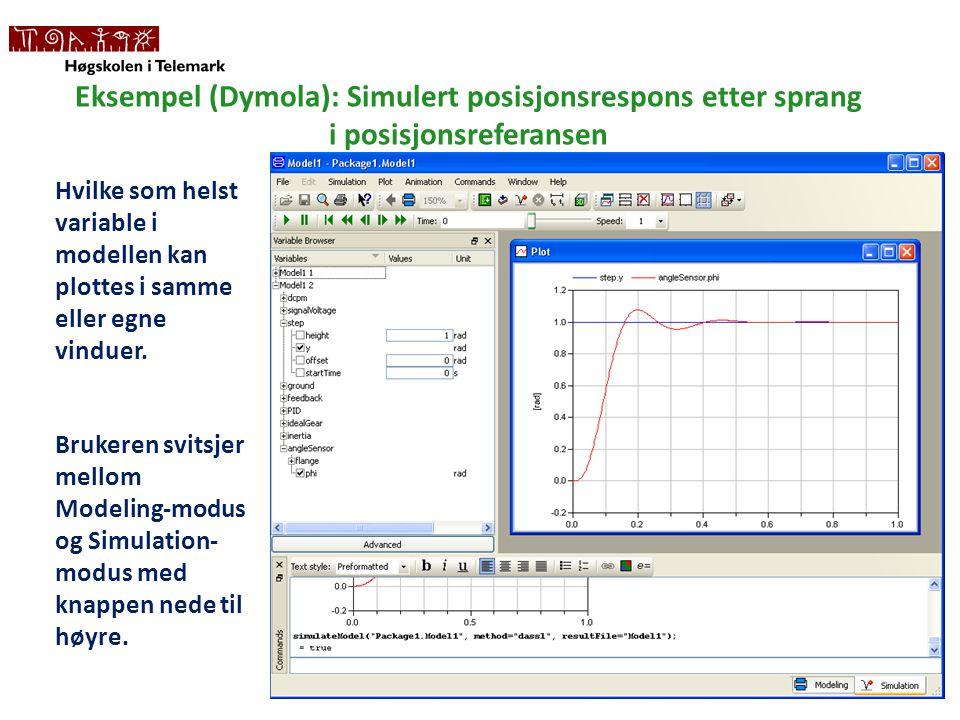 Eksempel (Dymola): Simulert posisjonsrespons etter sprang i posisjonsreferansen Hvilke som helst variable i modellen kan plottes i samme eller egne vinduer.