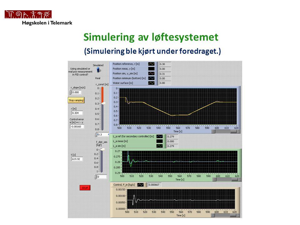 Simulering av løftesystemet (Simulering ble kjørt under foredraget.)