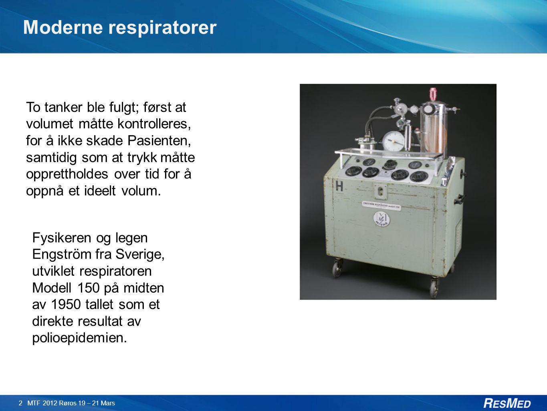 Moderne respiratorer 2 MTF 2012 Røros 19 – 21 Mars To tanker ble fulgt; først at volumet måtte kontrolleres, for å ikke skade Pasienten, samtidig som