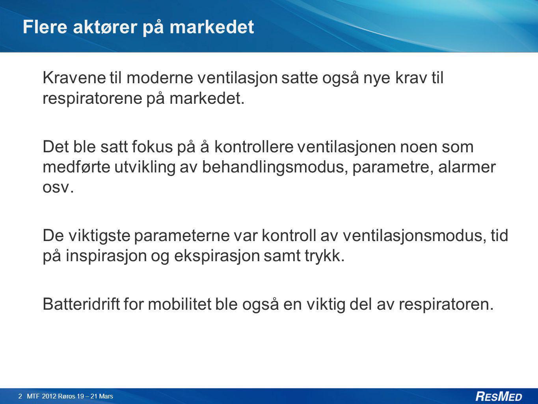 Flere aktører på markedet Kravene til moderne ventilasjon satte også nye krav til respiratorene på markedet. Det ble satt fokus på å kontrollere venti