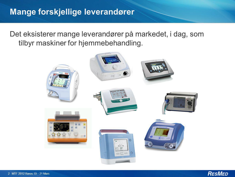 Mange forskjellige leverandører Det eksisterer mange leverandører på markedet, i dag, som tilbyr maskiner for hjemmebehandling. 2 MTF 2012 Røros 19 –