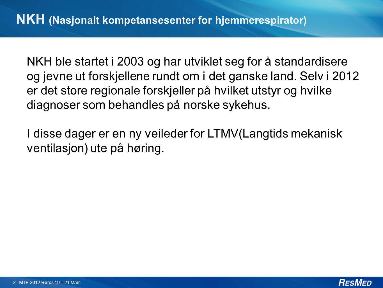 NKH (Nasjonalt kompetansesenter for hjemmerespirator) 2 MTF 2012 Røros 19 – 21 Mars NKH ble startet i 2003 og har utviklet seg for å standardisere og