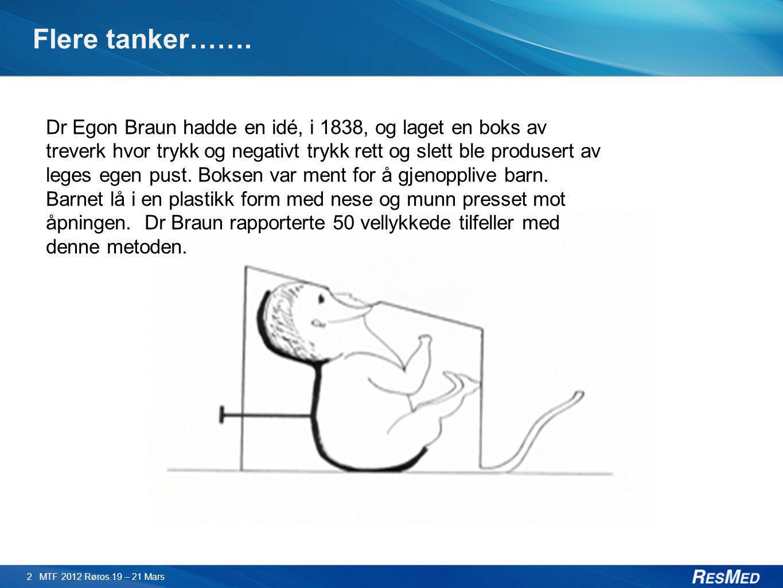 Flere tanker……. 2 MTF 2012 Røros 19 – 21 Mars Dr Egon Braun hadde en idé, i 1838, og laget en boks av treverk hvor trykk og negativt trykk rett og sle
