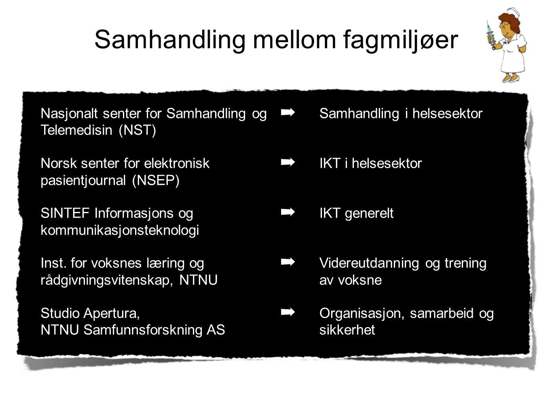 Samhandling mellom fagmiljøer Nasjonalt senter for Samhandling og Telemedisin (NST) Norsk senter for elektronisk pasientjournal (NSEP) SINTEF Informas