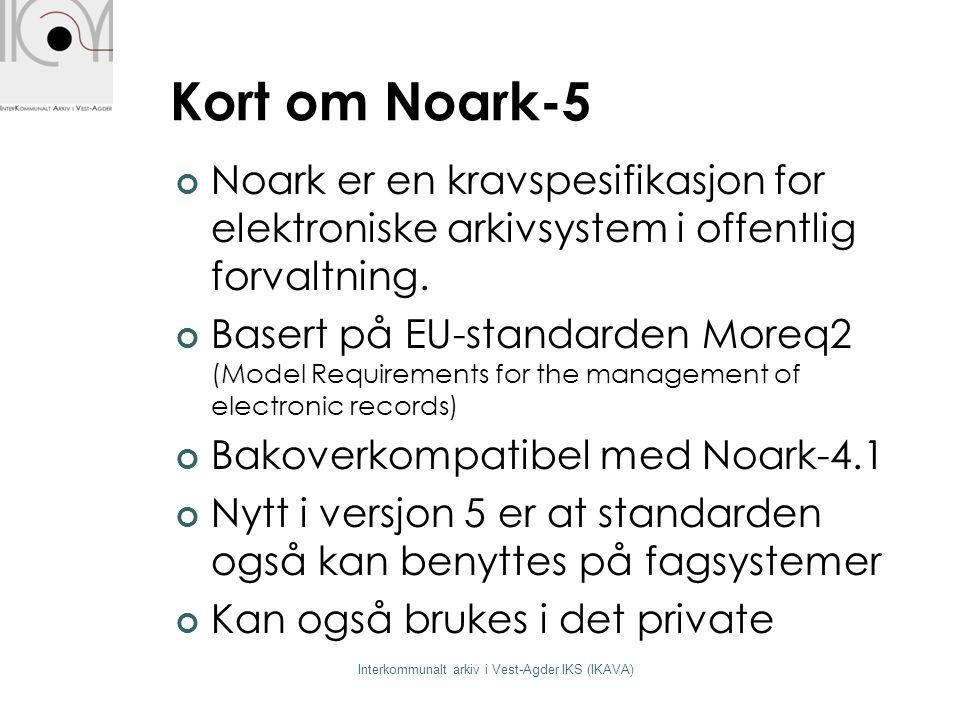 Kort om Noark-5 Interkommunalt arkiv i Vest-Agder IKS (IKAVA) Noark er en kravspesifikasjon for elektroniske arkivsystem i offentlig forvaltning. Base
