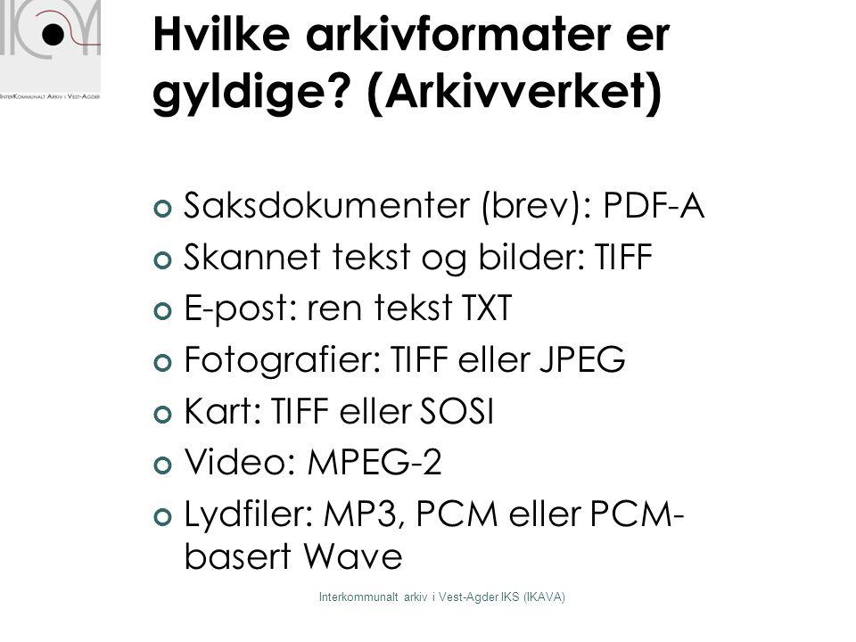 Skjermbilde 1 Interkommunalt arkiv i Vest-Agder IKS (IKAVA)
