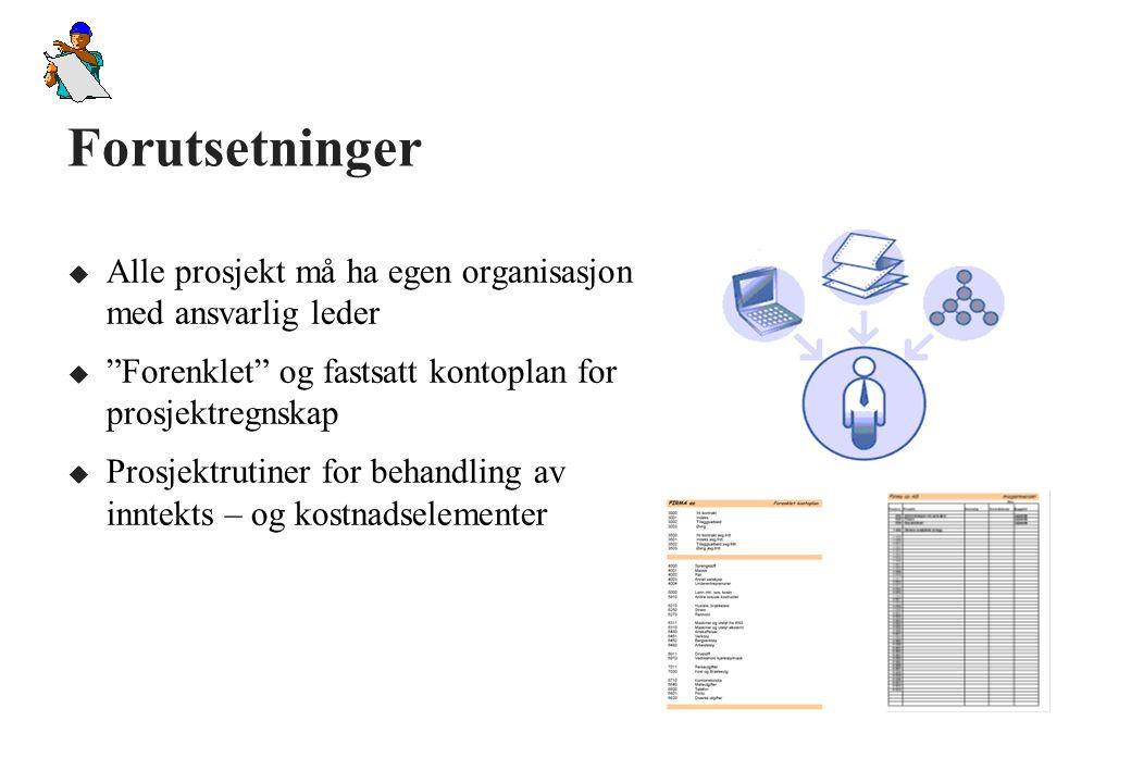 Startprognose (Budsjett) u Anleggsleder / ptosjektleder utarbeider startprognose før oppstart på prosjektet.