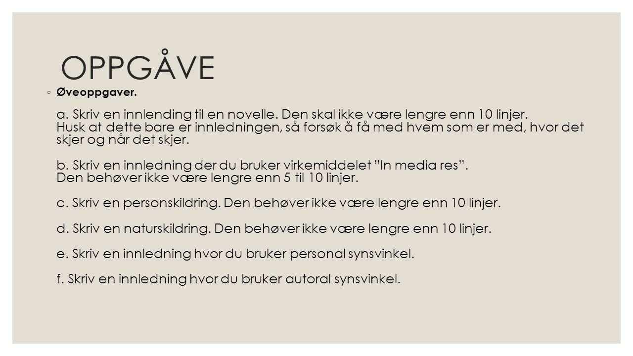 OPPGÅVE ◦ Øveoppgaver. a. Skriv en innlending til en novelle. Den skal ikke være lengre enn 10 linjer. Husk at dette bare er innledningen, så forsøk å