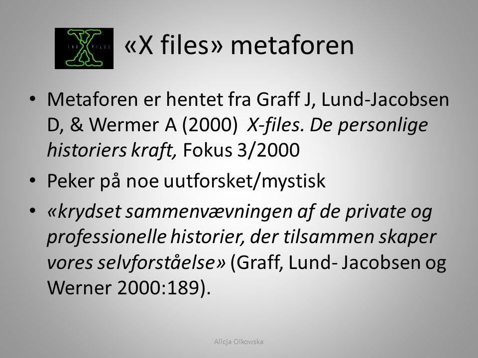 «X files» metaforen • Metaforen er hentet fra Graff J, Lund-Jacobsen D, & Wermer A (2000) X-files. De personlige historiers kraft, Fokus 3/2000 • Peke