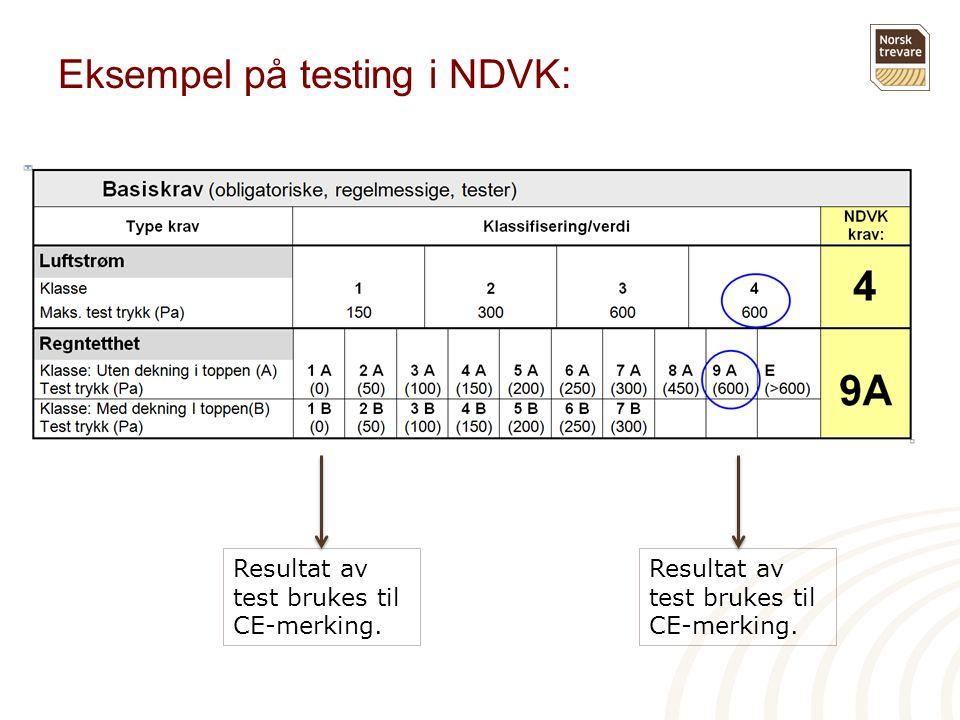 Eksempel på testing i NDVK: Resultat av test brukes til CE-merking.