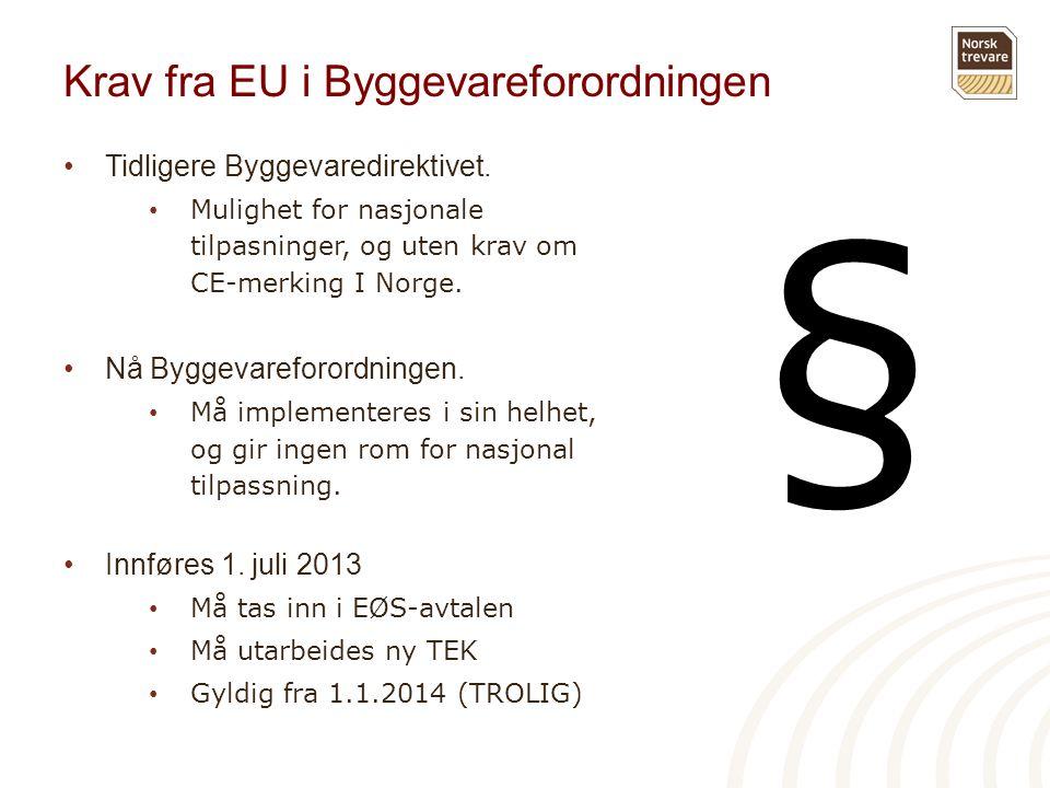 Krav fra EU i Byggevareforordningen •Tidligere Byggevaredirektivet. • Mulighet for nasjonale tilpasninger, og uten krav om CE-merking I Norge. •Nå Byg