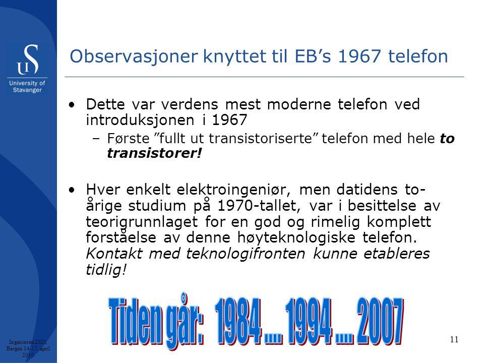 11 Observasjoner knyttet til EB's 1967 telefon •Dette var verdens mest moderne telefon ved introduksjonen i 1967 –Første fullt ut transistoriserte telefon med hele to transistorer.