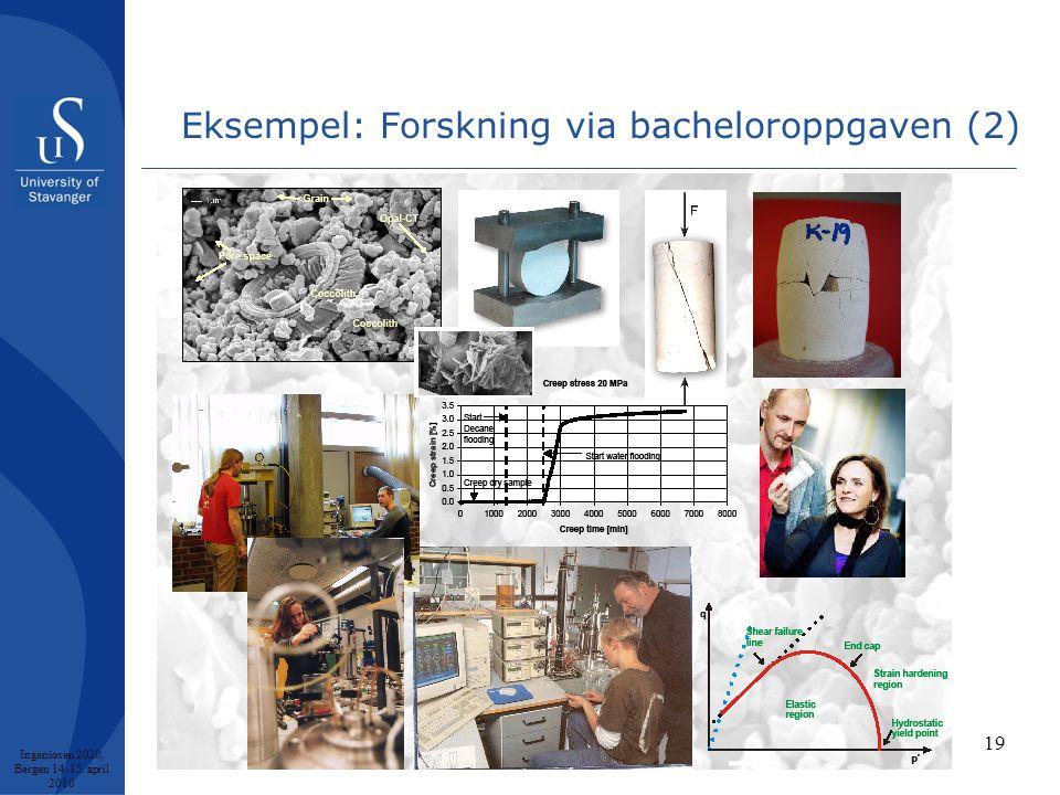 Eksempel: Forskning via bacheloroppgaven (2) Ingeniøren 2020, Bergen 14-15. april 2010 19