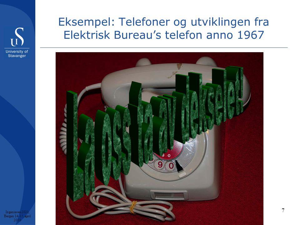 7 Eksempel: Telefoner og utviklingen fra Elektrisk Bureau's telefon anno 1967 Ingeniøren 2020, Bergen 14-15.
