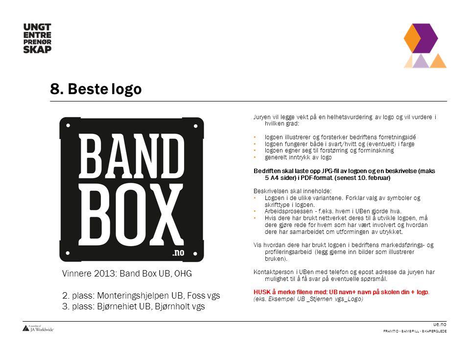ue.no 8. Beste logo FRAMTID - SAMSPILL - SKAPERGLEDE Juryen vil legge vekt på en helhetsvurdering av logo og vil vurdere i hvilken grad: • logoen illu