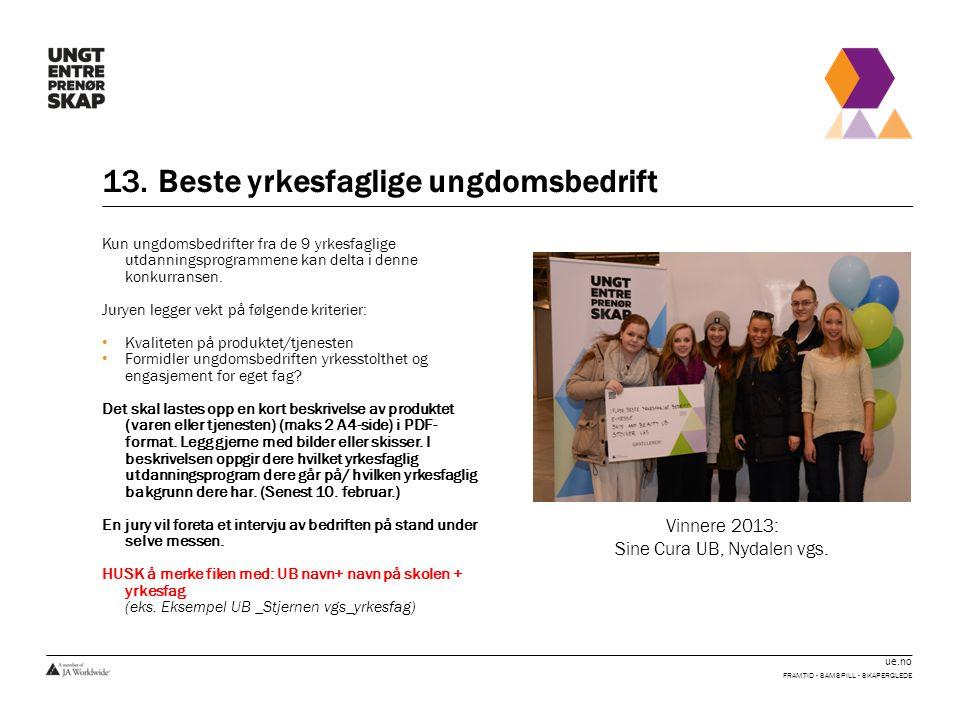 ue.no 13. Beste yrkesfaglige ungdomsbedrift FRAMTID - SAMSPILL - SKAPERGLEDE Kun ungdomsbedrifter fra de 9 yrkesfaglige utdanningsprogrammene kan delt