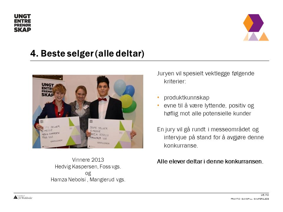 ue.no 15.Beste ungdomsbedrift FRAMTID - SAMSPILL - SKAPERGLEDE Konkurransen er firedelt: A.