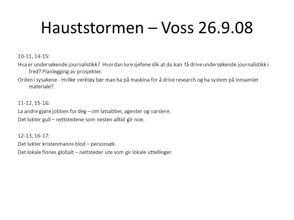 Hauststormen – Voss 26.9.08 10-11, 14-15: Hva er undersøkende journalistikk.