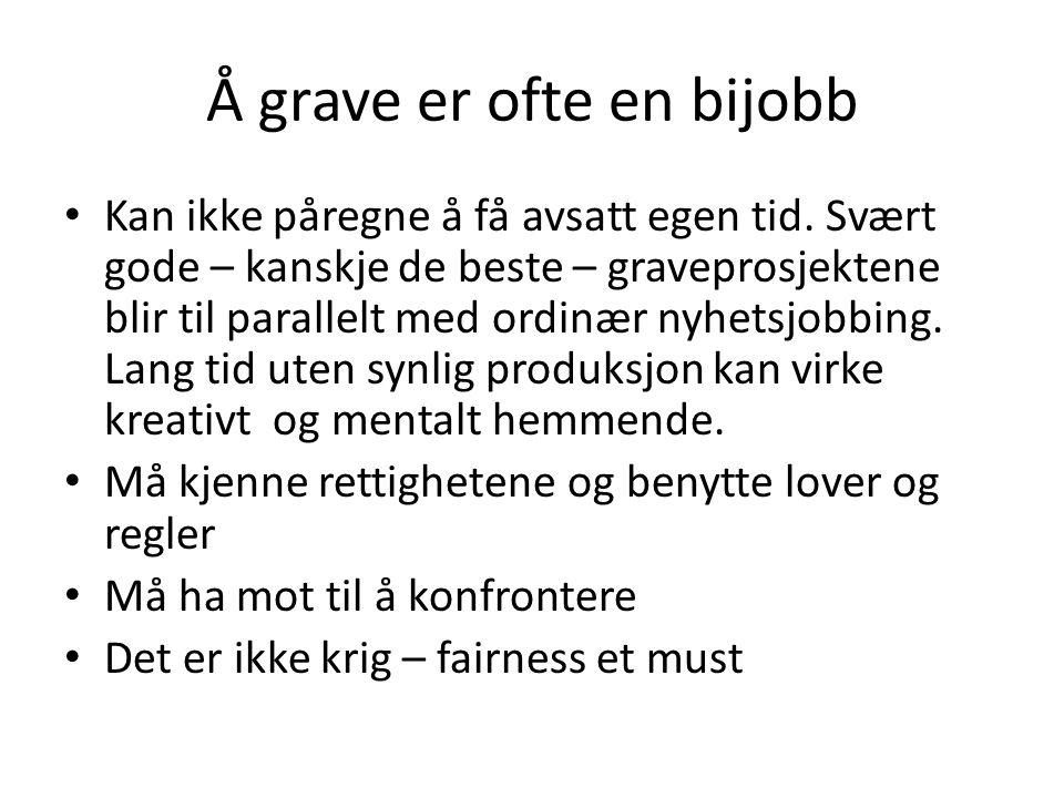 Å grave er ofte en bijobb • Kan ikke påregne å få avsatt egen tid.