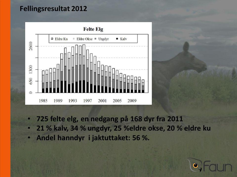 www.fnat.no Fellingsresultat 2012 • 725 felte elg, en nedgang på 168 dyr fra 2011 • 21 % kalv, 34 % ungdyr, 25 %eldre okse, 20 % eldre ku • Andel hanndyr i jaktuttaket: 56 %.