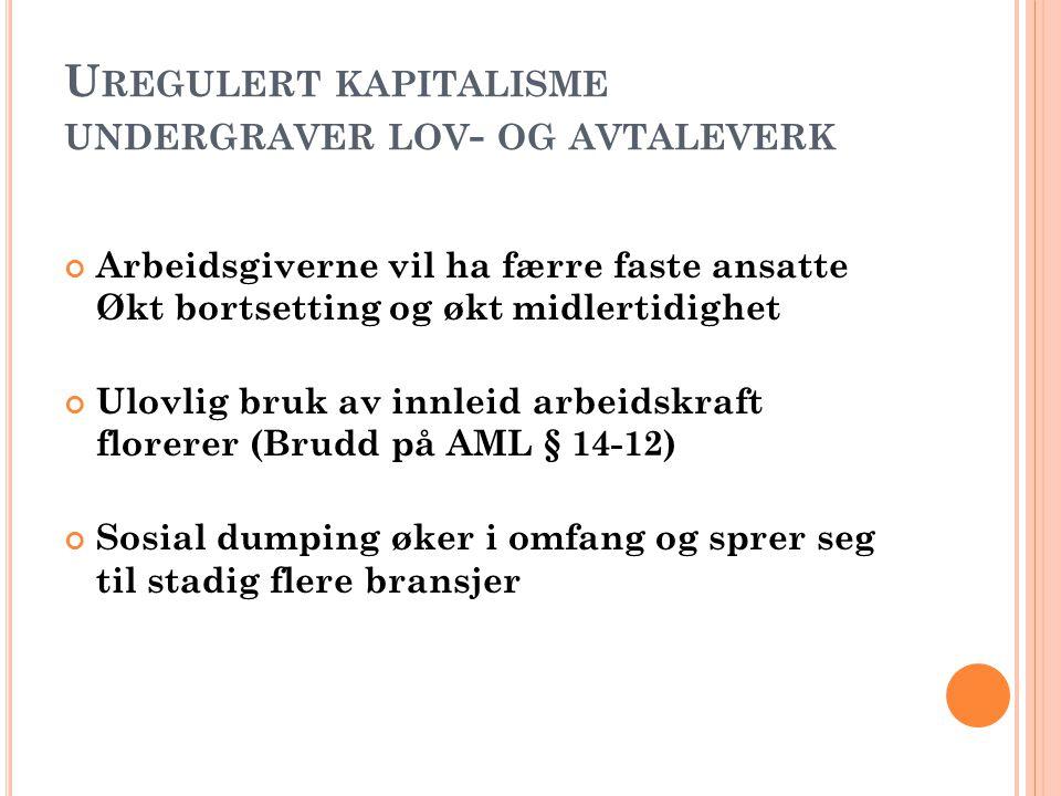 NHO OG HØYRESIDA ANGRIPER FAGBEVEGELSEN Virke og NHO ønsker ikke å respektere tariffavtalene – bekjemper allmenngjøring og tar til orde for lovbestemt minstelønn Frp/H/V/KrF ønsker økt midlertidighet i arbeidslivet Virke, NHO og de borgerlige partiene vil endre den norske modellen/ klassekompromisset