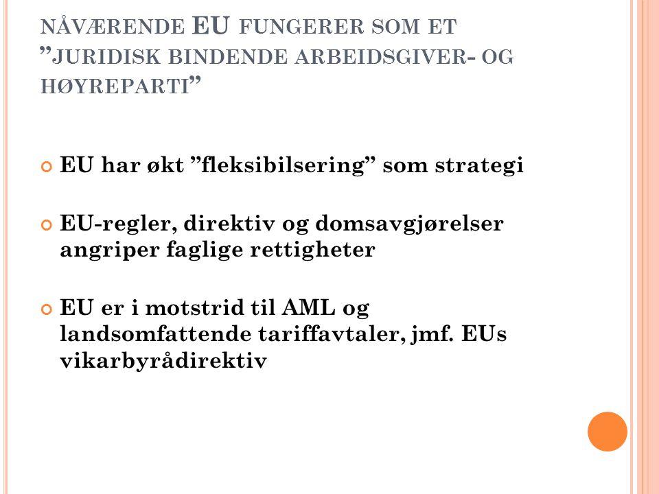 NÅVÆRENDE EU FUNGERER SOM ET JURIDISK BINDENDE ARBEIDSGIVER - OG HØYREPARTI EU har økt fleksibilsering som strategi EU-regler, direktiv og domsavgjørelser angriper faglige rettigheter EU er i motstrid til AML og landsomfattende tariffavtaler, jmf.