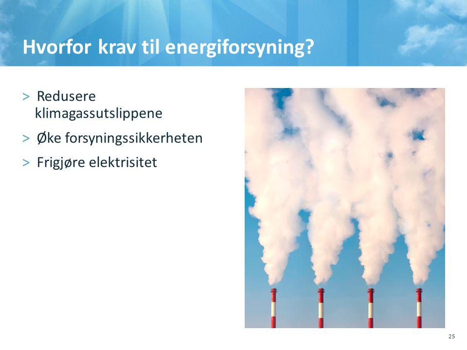 Hvorfor krav til energiforsyning? >Redusere klimagassutslippene >Øke forsyningssikkerheten >Frigjøre elektrisitet 25