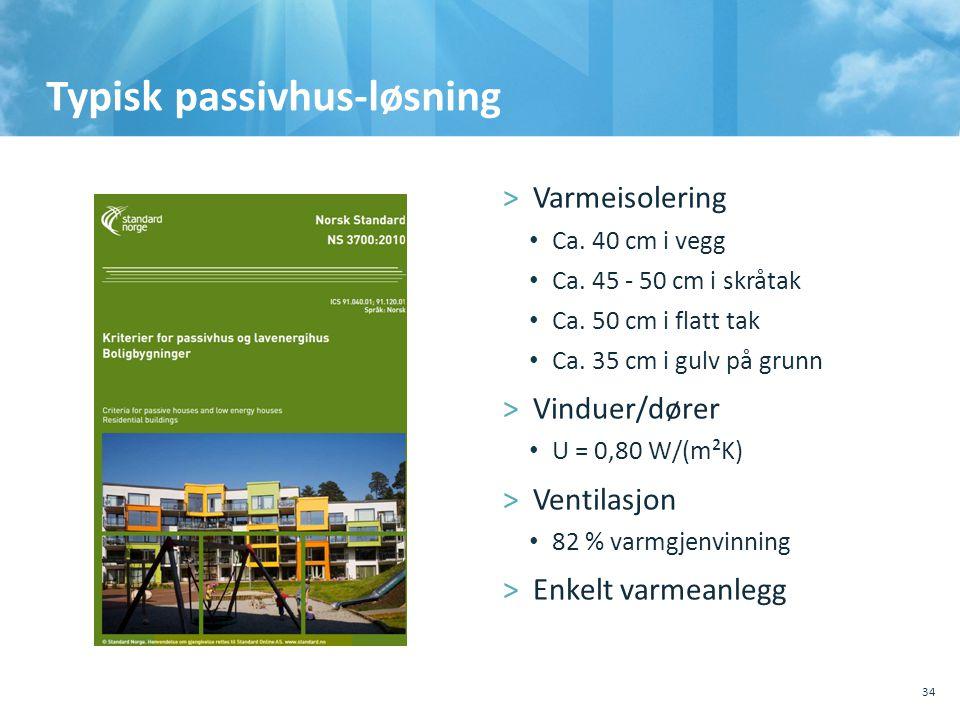 Typisk passivhus-løsning 34 >Varmeisolering • Ca. 40 cm i vegg • Ca. 45 - 50 cm i skråtak • Ca. 50 cm i flatt tak • Ca. 35 cm i gulv på grunn >Vinduer