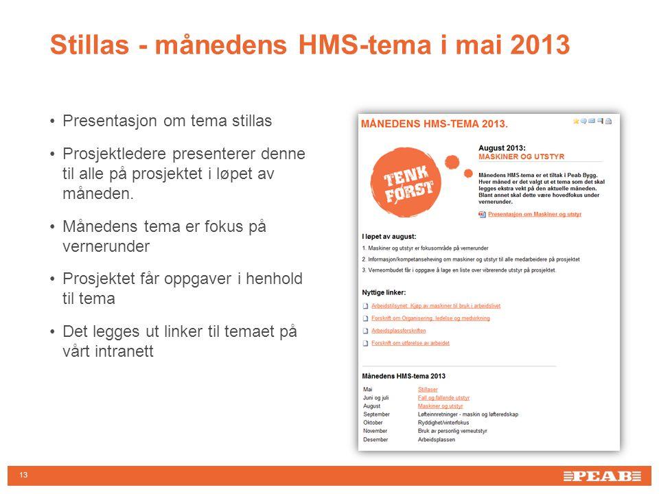 13 •Presentasjon om tema stillas •Prosjektledere presenterer denne til alle på prosjektet i løpet av måneden.