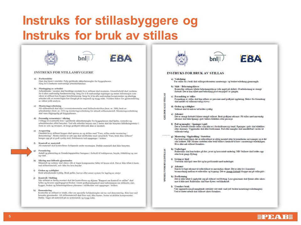 16 •Risikoanalyse •SJA •Klarere kompetansekrav til montering og kontroll av stillas •Klarere krav i forhold til bruk av stillas •Fokus på arbeid i høyden og forebyggende arbeid – kontinuerlig prosess •Strengere og tydeligere krav til UE Oppsummering